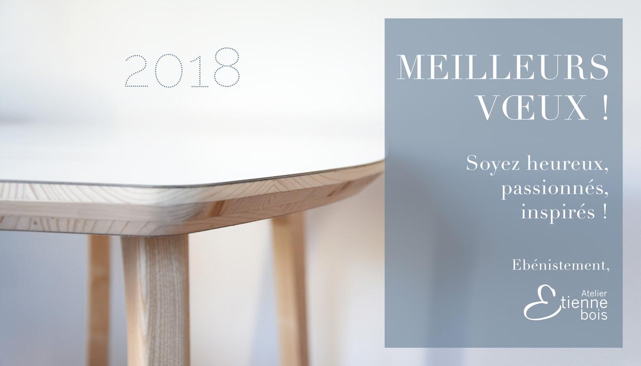 Bannière Facebook des meilleurs voeux pour l'Année 2018 de l'Atelier Etienne bois