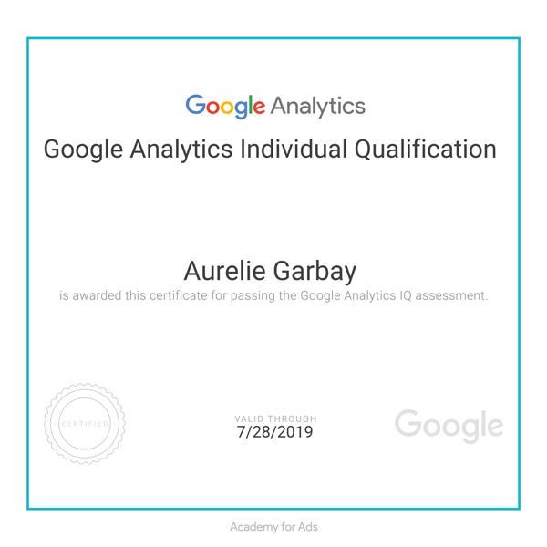 Certificat Google Academy délivré à Aurélie Garbay-Douziech, fondatrice de l'Agence Iltze