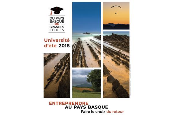 Affiche pour l'Université d'été #3 de Du Pays basque aux Grandes Ecoles