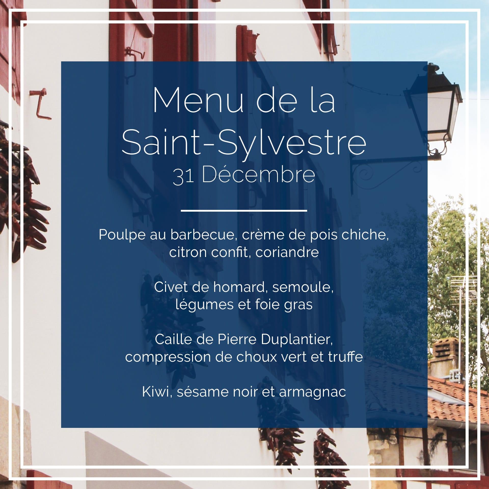 Menu de la Saint-Sylvestre - Mise en page créée par l'Agence Iltze pour le restaurant Choko Ona à Espelette